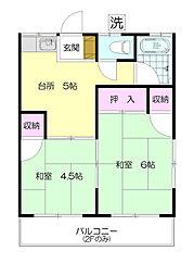 神奈川県横浜市青葉区大場町の賃貸アパートの間取り