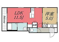 JR総武線 稲毛駅 徒歩3分の賃貸マンション 1階1LDKの間取り