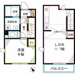 東京メトロ丸ノ内線 荻窪駅 徒歩12分の賃貸アパート 2階1SLDKの間取り