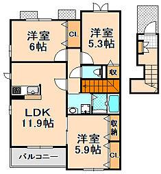 兵庫県伊丹市東野7丁目の賃貸アパートの間取り