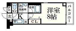 JR東海道・山陽本線 摂津本山駅 徒歩10分の賃貸マンション 5階1Kの間取り