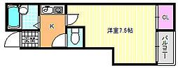 ビロウズコマガワパート1[2階]の間取り
