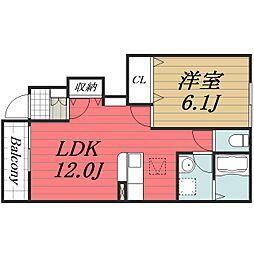千葉県成田市久住中央4丁目の賃貸アパートの間取り