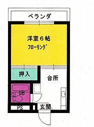 第三恵美寿コーポ[201号室]の間取り