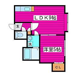 JR学園都市線 篠路駅 徒歩26分の賃貸アパート 3階1LDKの間取り