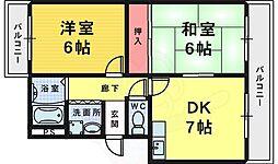 JR阪和線 三国ヶ丘駅 徒歩14分の賃貸マンション 2階2DKの間取り