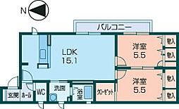 奈良県橿原市小槻町の賃貸アパートの間取り