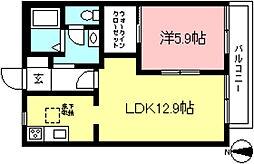 京王線 多磨霊園駅 徒歩10分の賃貸アパート 1階1LDKの間取り