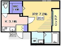 JR京浜東北・根岸線 蒲田駅 徒歩16分の賃貸マンション 2階1Kの間取り