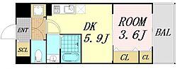 サムティ福島Rufle 3階1DKの間取り