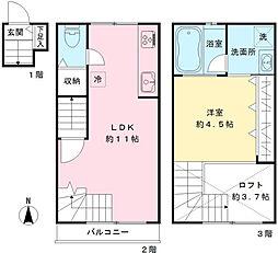 東京都世田谷区北烏山3丁目の賃貸アパートの間取り