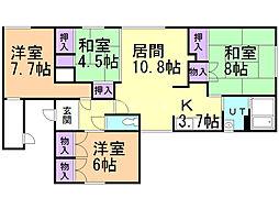 一棟三戸(7−20) 2階4LDKの間取り