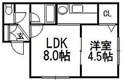 ライズ本郷通壱番館[203号室]の間取り