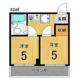 アメニティー京都2番館[6E号室]の間取り