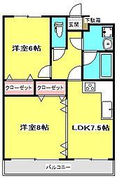 ジーオーシックス 2階2LDKの間取り