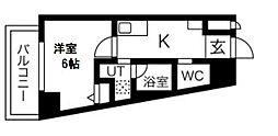 Blue福島 8階1Kの間取り