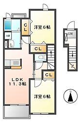 ベル・ジャルダン B[2階]の間取り