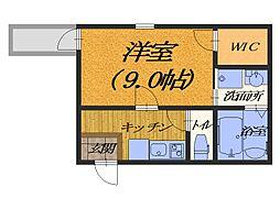 大阪府堺市北区南長尾町1丁の賃貸アパートの間取り