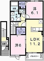 ボニートⅡ[2階]の間取り