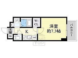 スペーシア江坂南金田 6階1Kの間取り