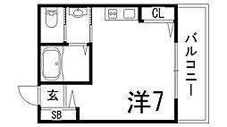 兵庫県神戸市中央区坂口通4丁目の賃貸アパートの間取り
