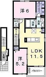 ドゥ エスポワール 2階2LDKの間取り