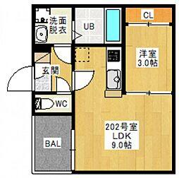 JR宇野線 備前西市駅 徒歩19分の賃貸アパート 2階1LDKの間取り