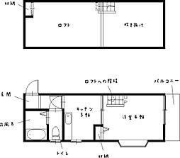 メイプル東小島 2階1Kの間取り