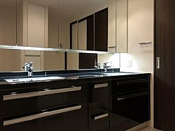 洗面スペースも高級感があり、2つ洗面台があり、朝も身支度に便利です