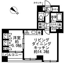 ラクラス日本橋浜町 2階1LDKの間取り