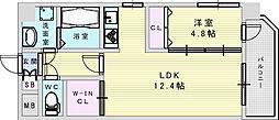 おおさか東線 南吹田駅 徒歩4分の賃貸マンション 6階1LDKの間取り
