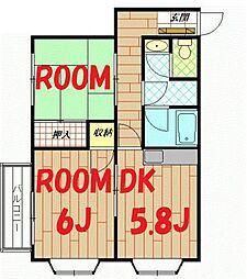 神奈川県横浜市神奈川区三ツ沢西町の賃貸アパートの間取り