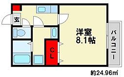 サントピア須玖 1階1Kの間取り