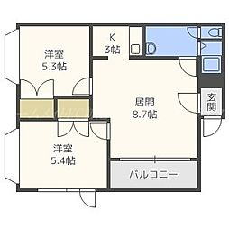 北海道札幌市東区東苗穂八条1丁目の賃貸アパートの間取り