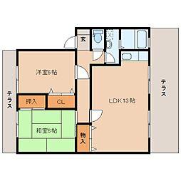 奈良県橿原市中曽司町の賃貸アパートの間取り