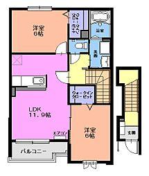 プラシードB[2階]の間取り