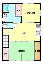 兵庫県神戸市須磨区古川町4丁目の賃貸アパートの間取り