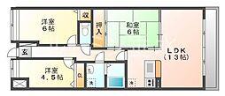 プラザハイツ二ツ屋B棟[305号室]の間取り