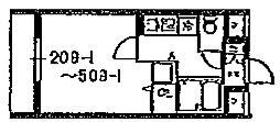 スカイコート池袋西弐番館 2階1Kの間取り