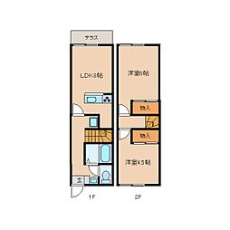 [テラスハウス] 奈良県天理市楢町 の賃貸【/】の間取り