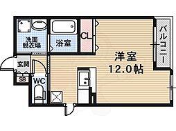 近鉄長野線 滝谷不動駅 徒歩9分の賃貸アパート 2階ワンルームの間取り