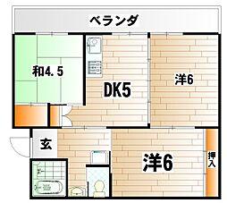 ビレッジハウス日明  3棟[5階]の間取り