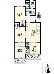 ルーミィ新屋敷[2階]の間取り