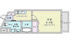 阪急千里線 千里山駅 徒歩3分の賃貸マンション 4階1Kの間取り