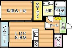 福岡県北九州市八幡西区森下町の賃貸マンションの間取り
