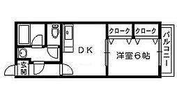 ハイツアーサー[1階]の間取り