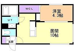 仮)casa AT白石2nd 3階1LDKの間取り