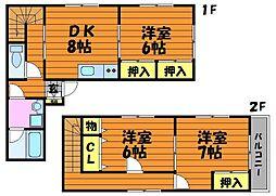 [テラスハウス] 岡山県総社市中原 の賃貸【岡山県 / 総社市】の間取り