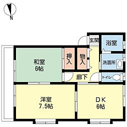 新潟県新潟市西区善久の賃貸アパートの間取り