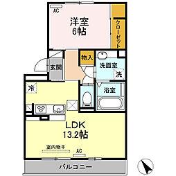 愛知県安城市大山町2丁目の賃貸アパートの間取り